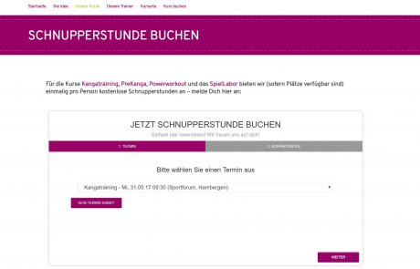 Online Probetraining buchen bei Mutter Kind Fitness Kursen